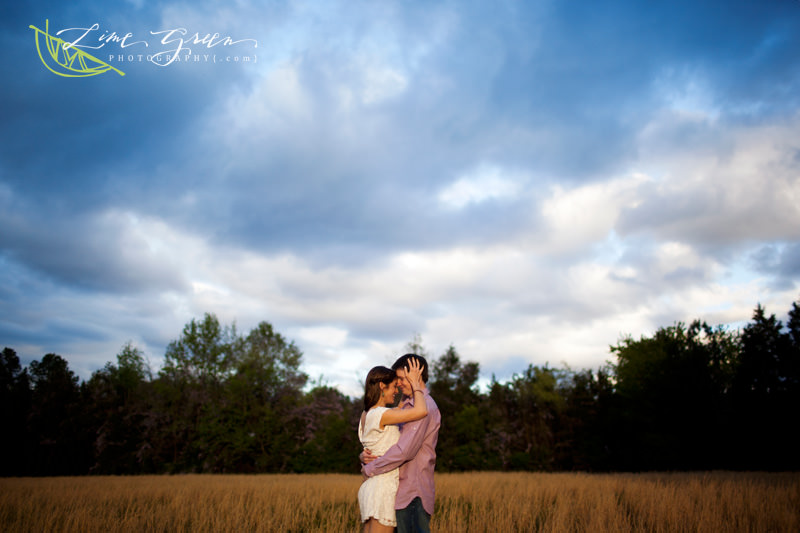 engagement photos in a field south carolina