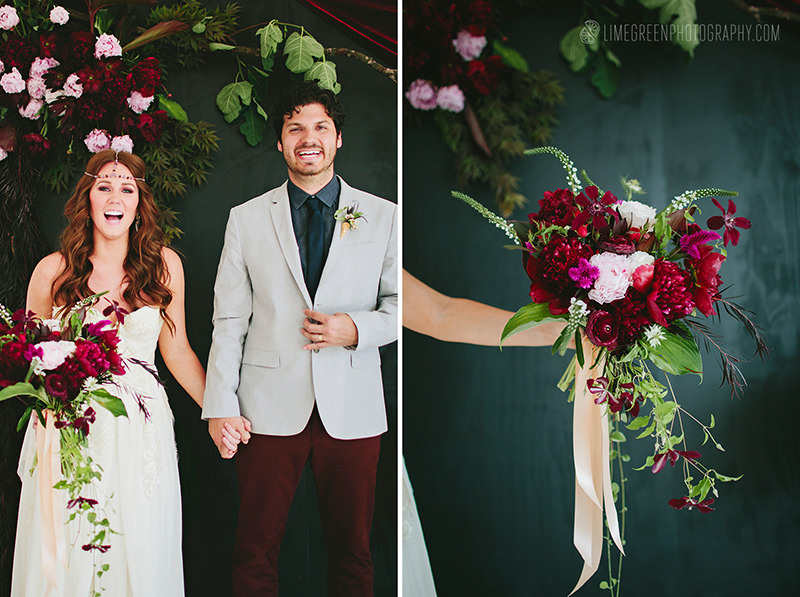 berry colors wedding bouquet
