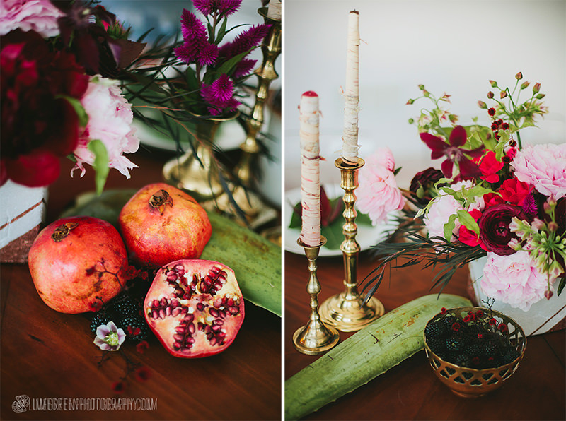 pomegranate wedding reception table