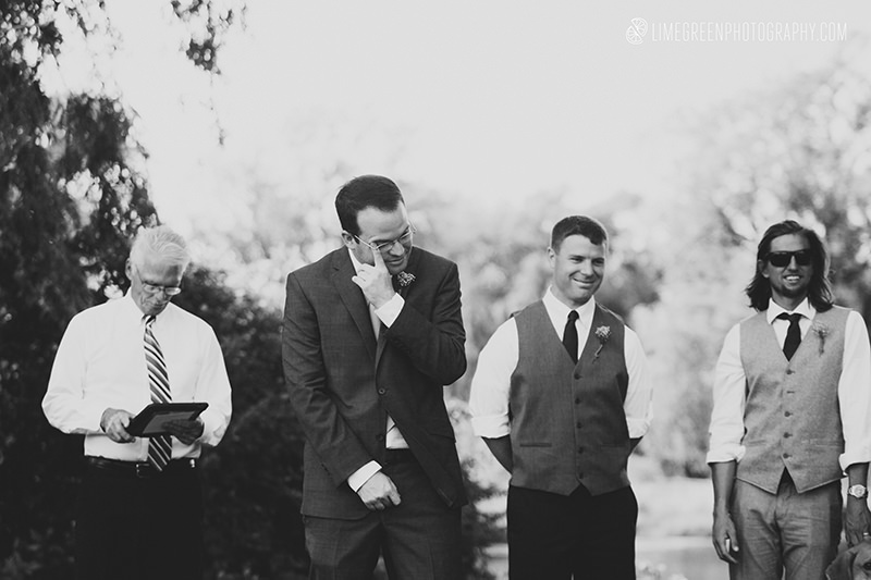 groom first look crying