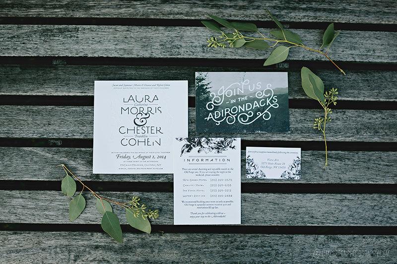 letterpress woodsy wedding invitations