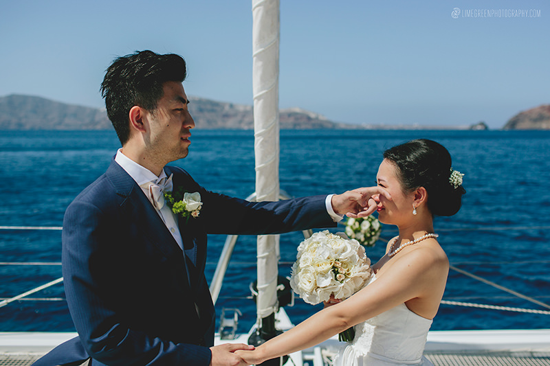 santorini boat weddings