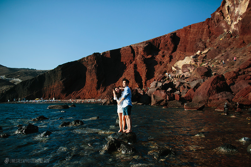 santorini red beach elopements