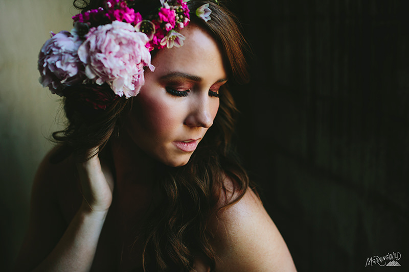 pink flower crowns wedding