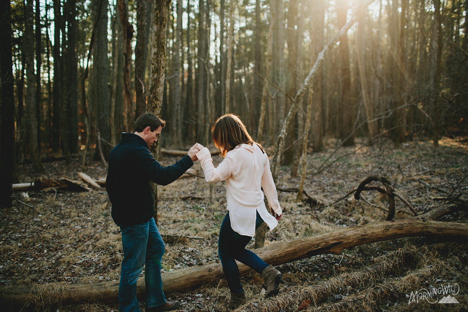 raleigh engagement photos in the woods