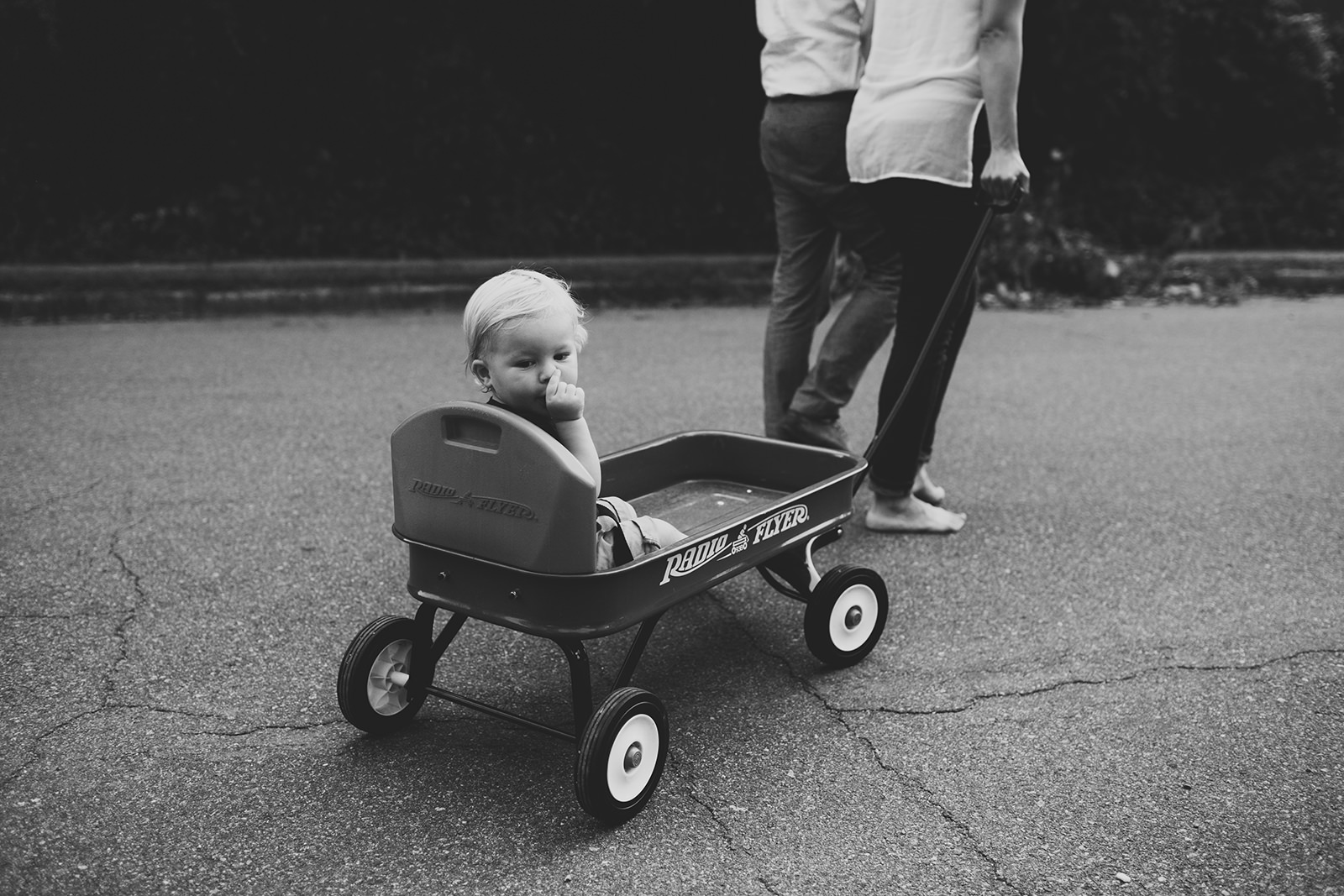 child in a wagon