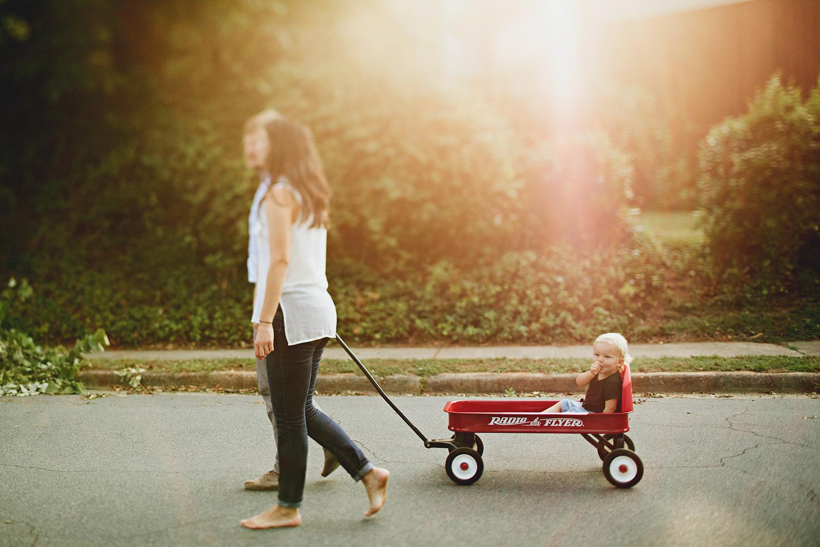 family photos in a wagon
