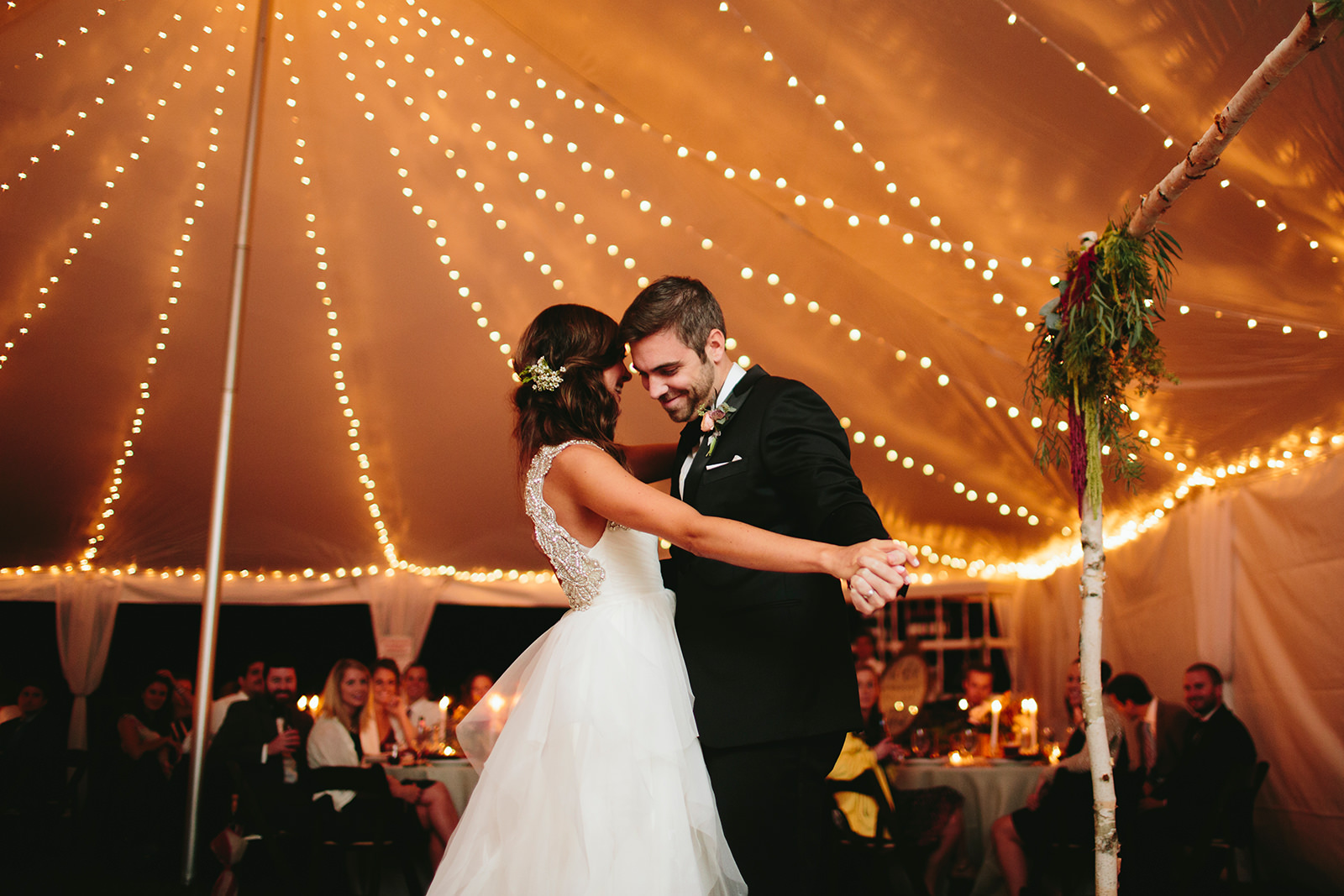 backyard wedding tent lighting