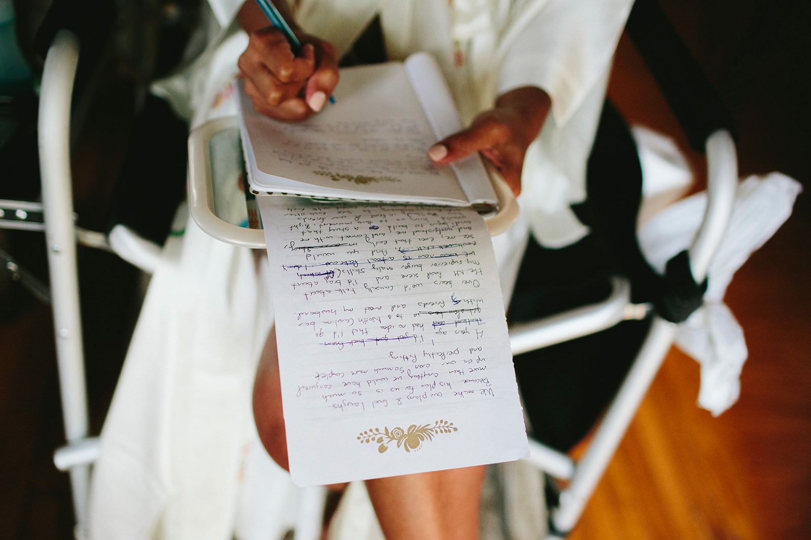 bride writing vows