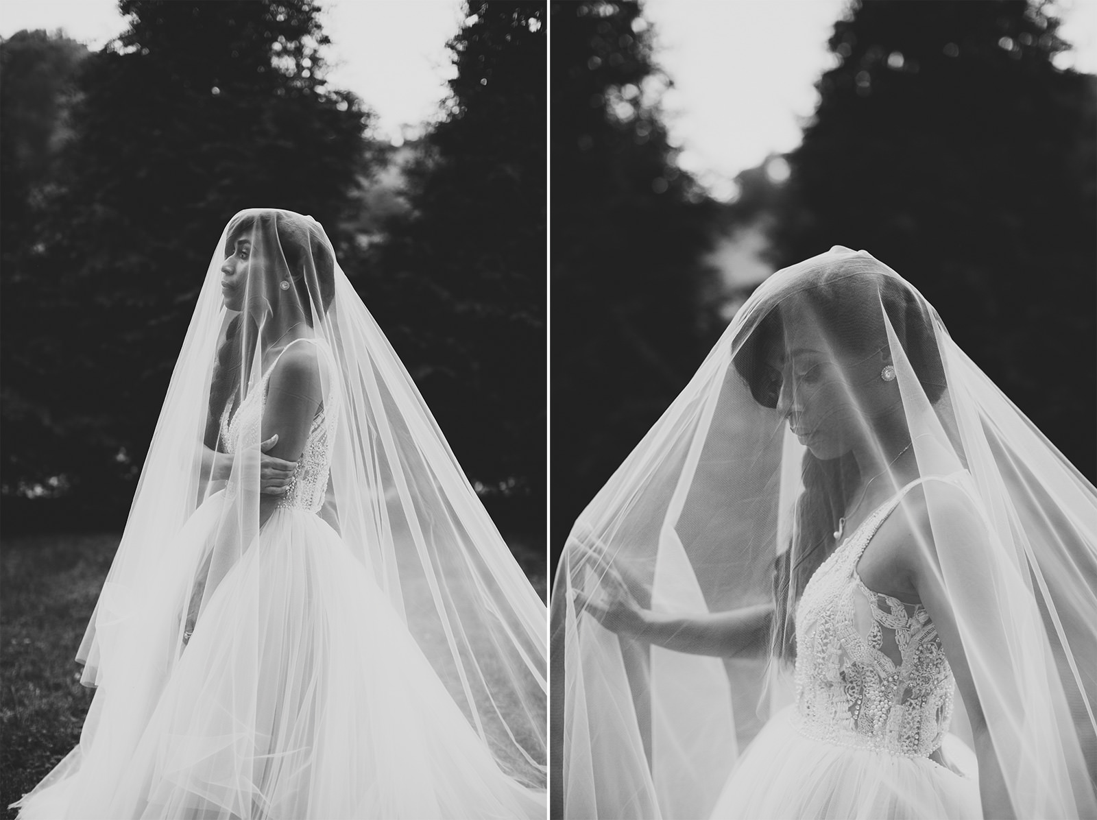 dramatic veil photos bride