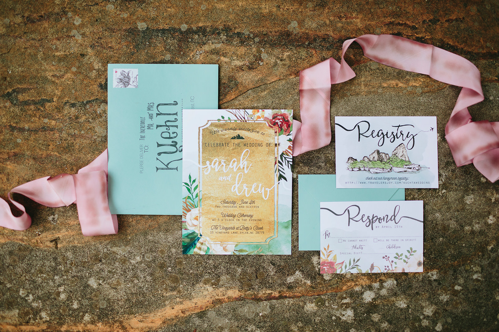 turquoise and pink wedding stationary
