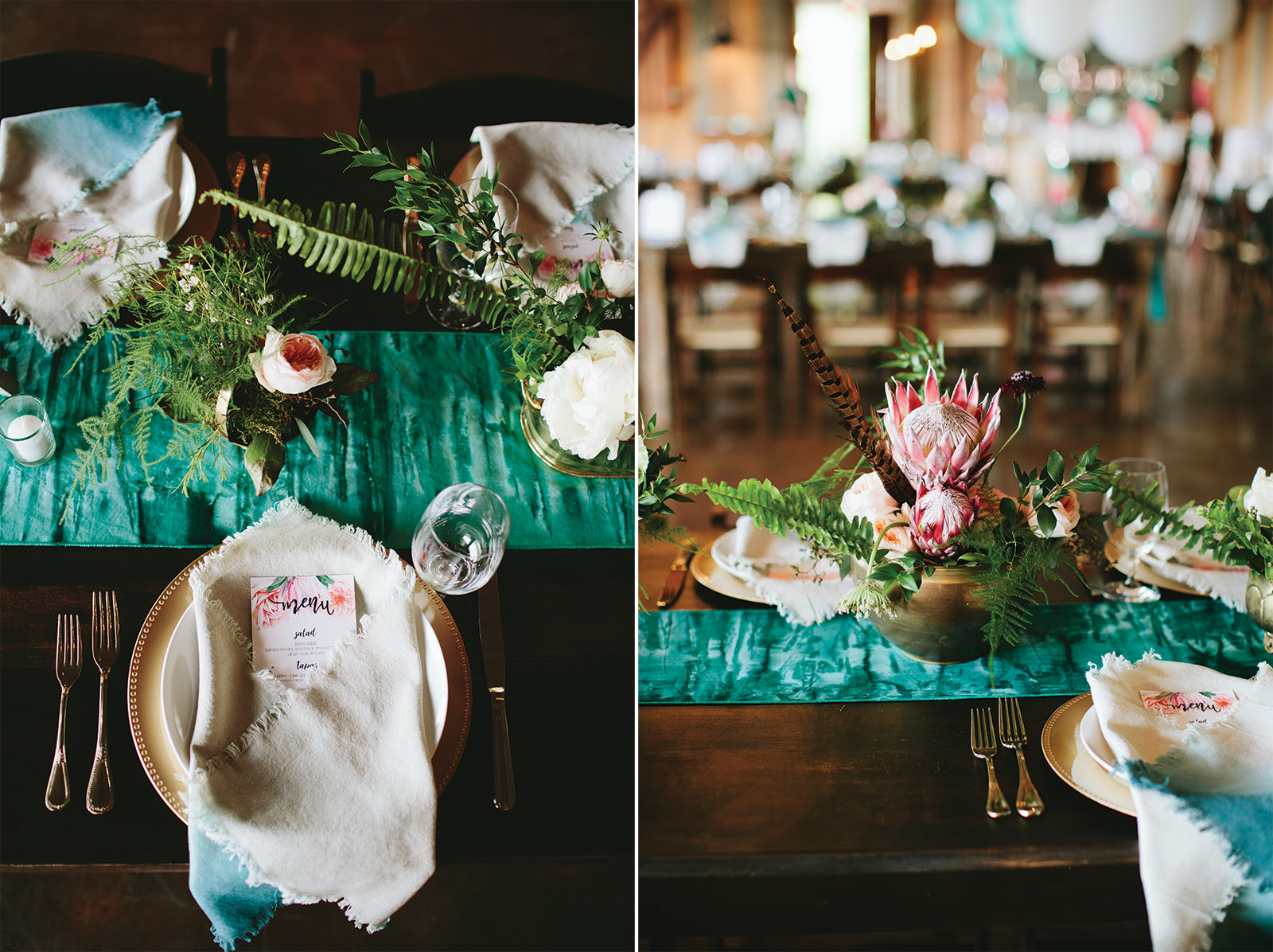 blush and turquoise wedding decor