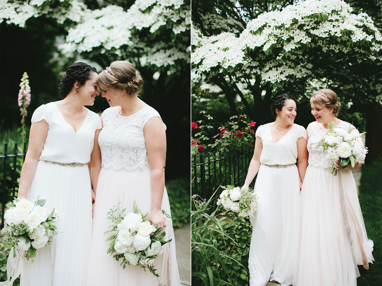 blush and cream same sex wedding