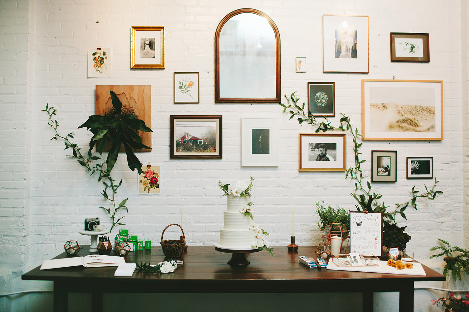 bohemian gallery wall wedding