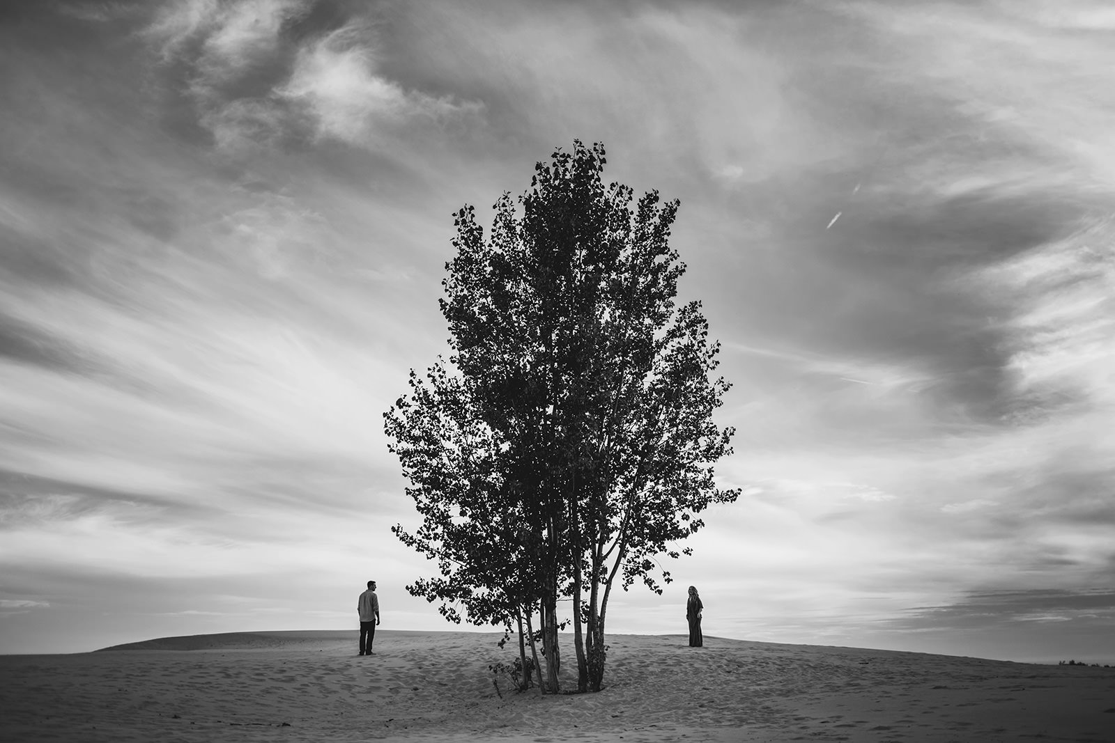 engagement photos at silver lake sand dunes