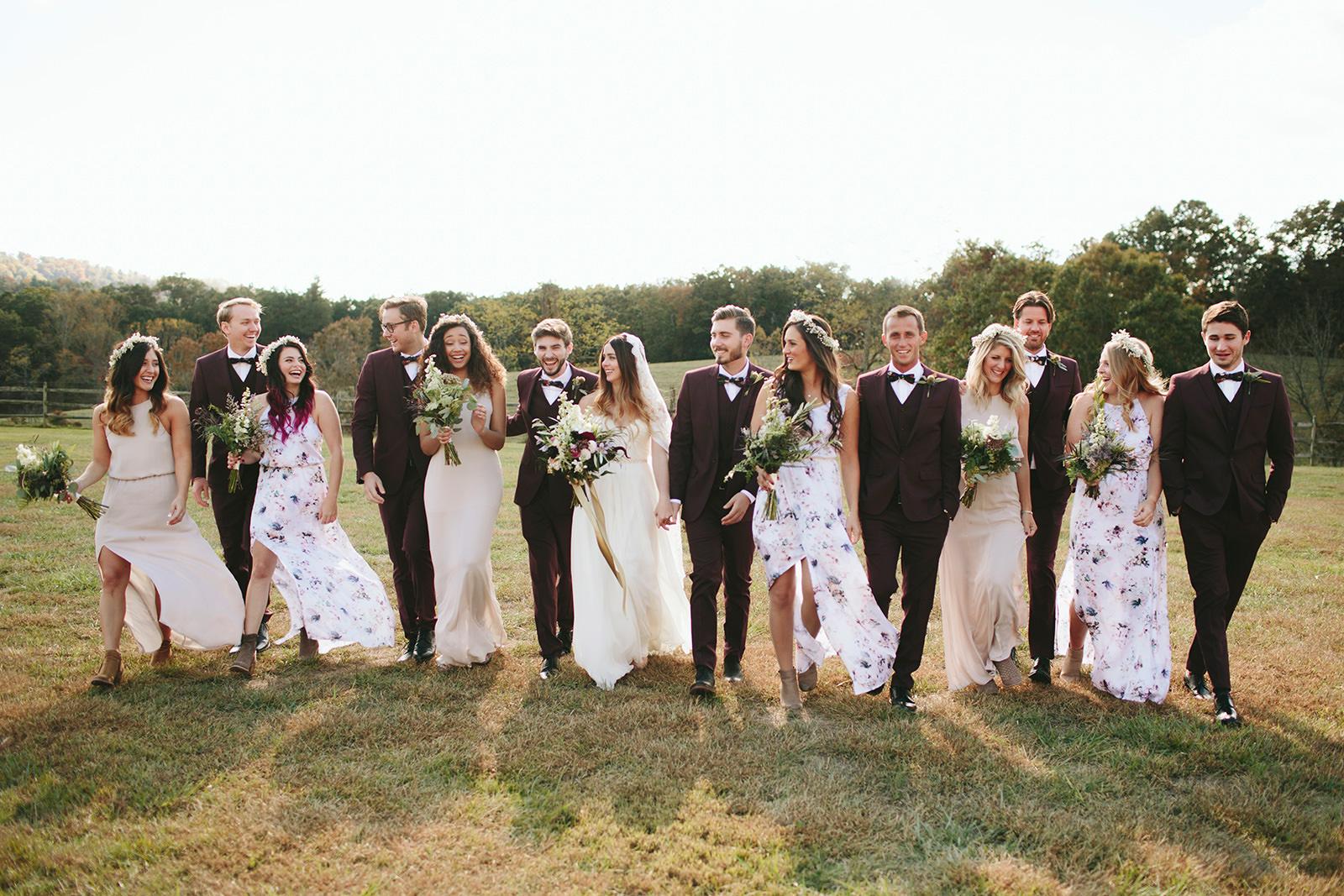 boho bridal party photos