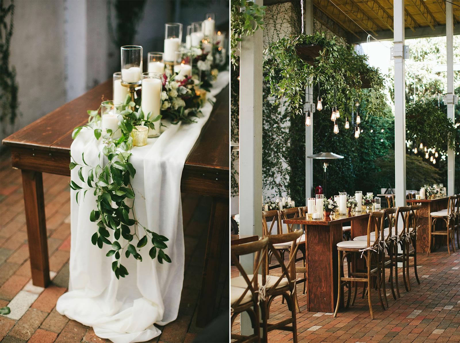 botanical table decor wedding