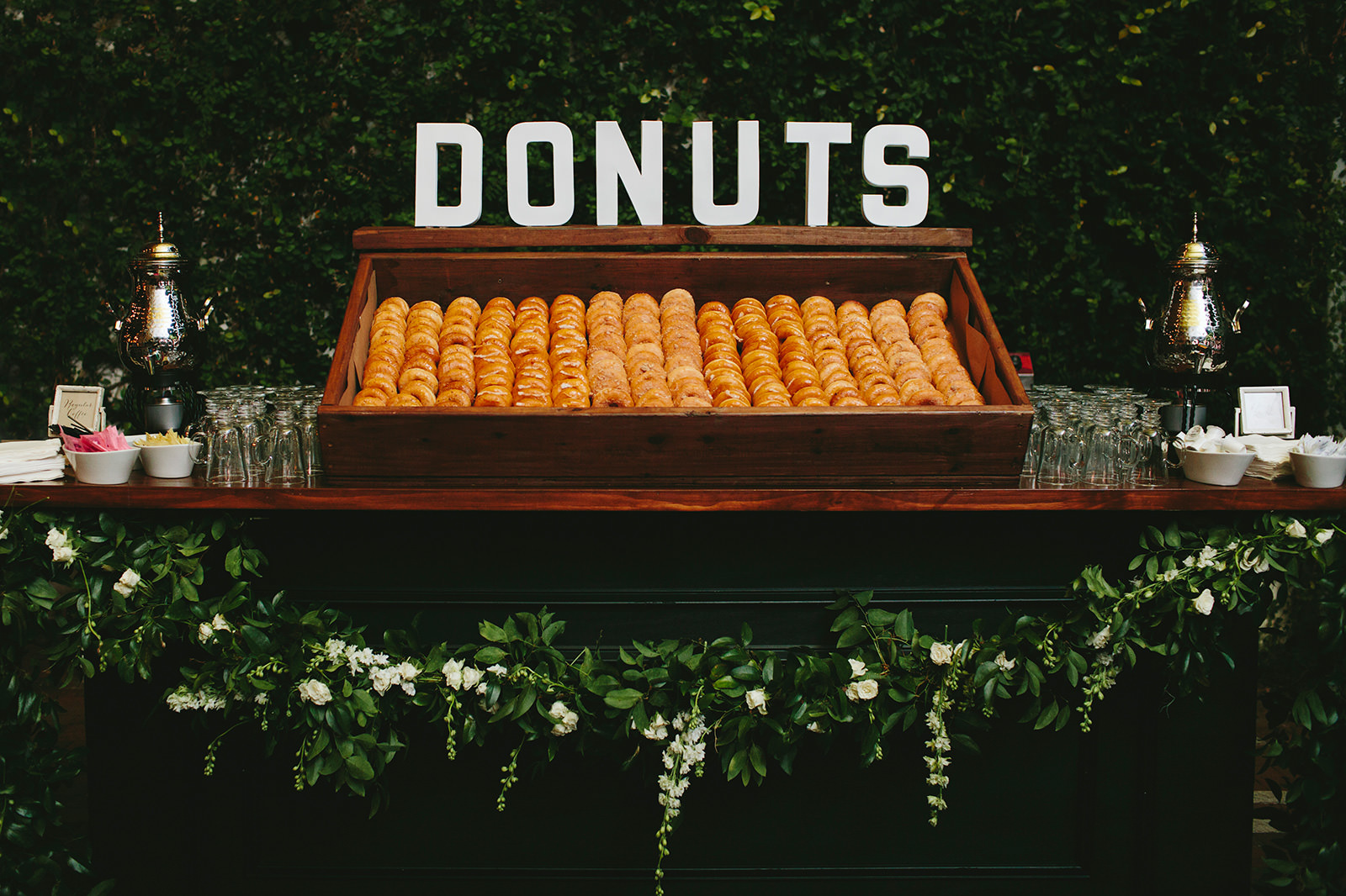 donut stand at wedding photos