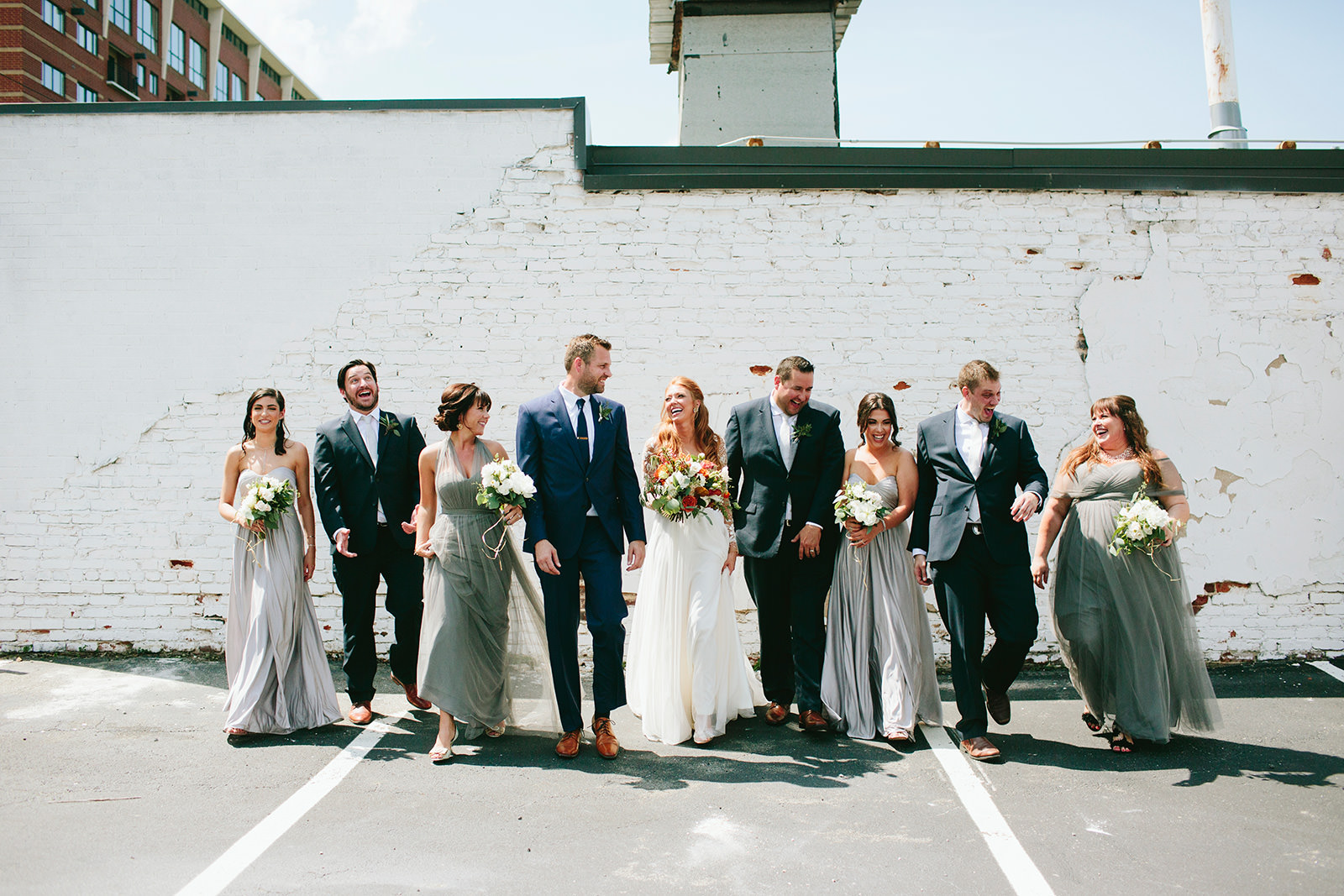 uptown charlotte bridal party photos