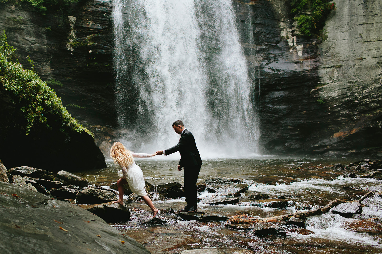 waterfall elopements asheville