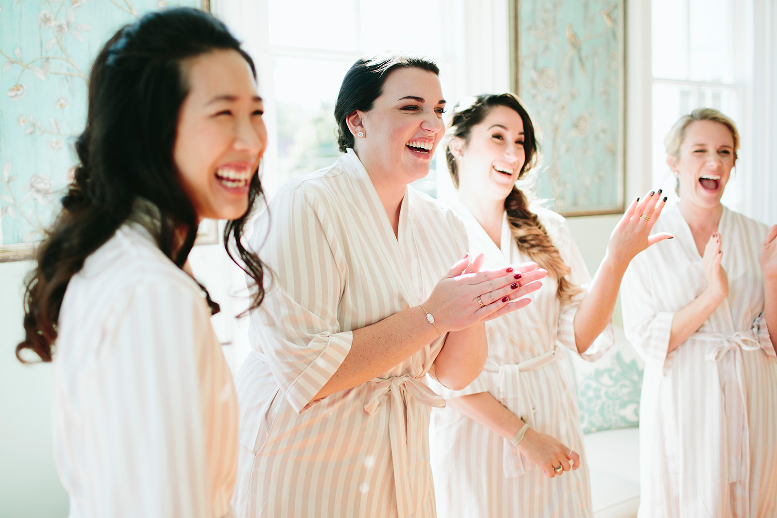 blush matching robes bridesmaids