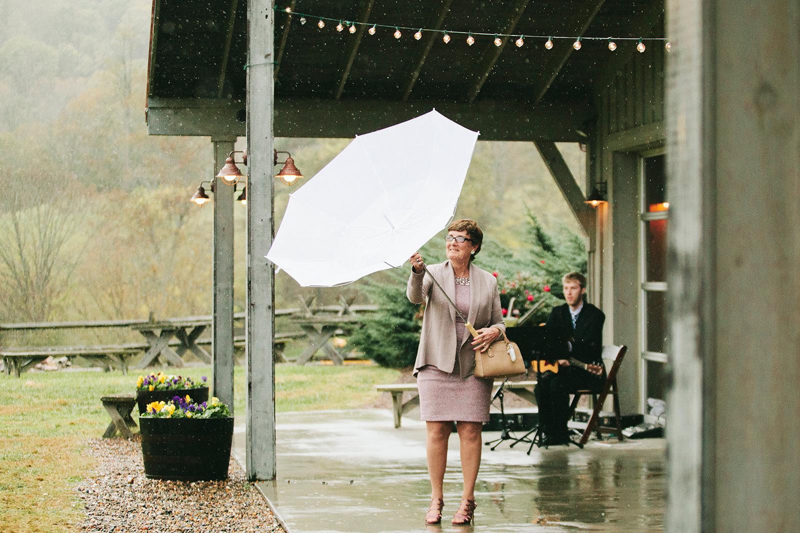 rainy wedding claxton farm