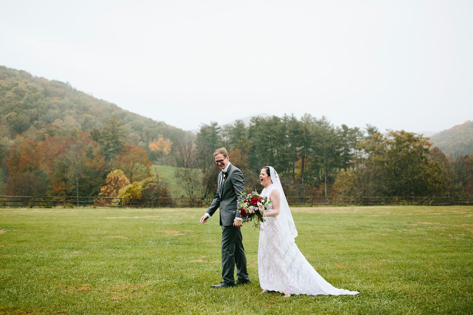rainy fall wedding asheville