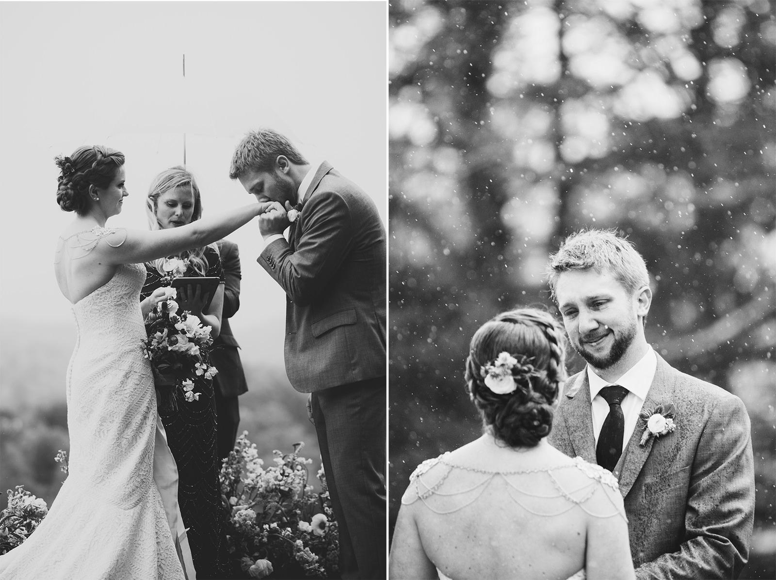 rainy wedding at the ridge