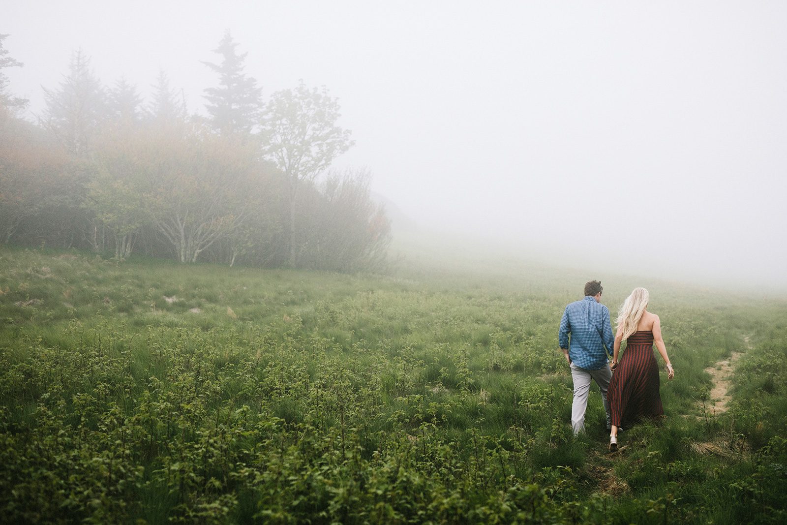 foggy engagement photos asheville mountains