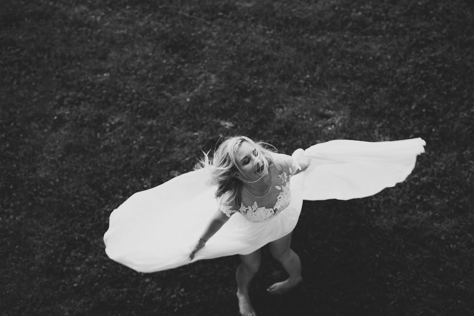 flowy lace wedding dress
