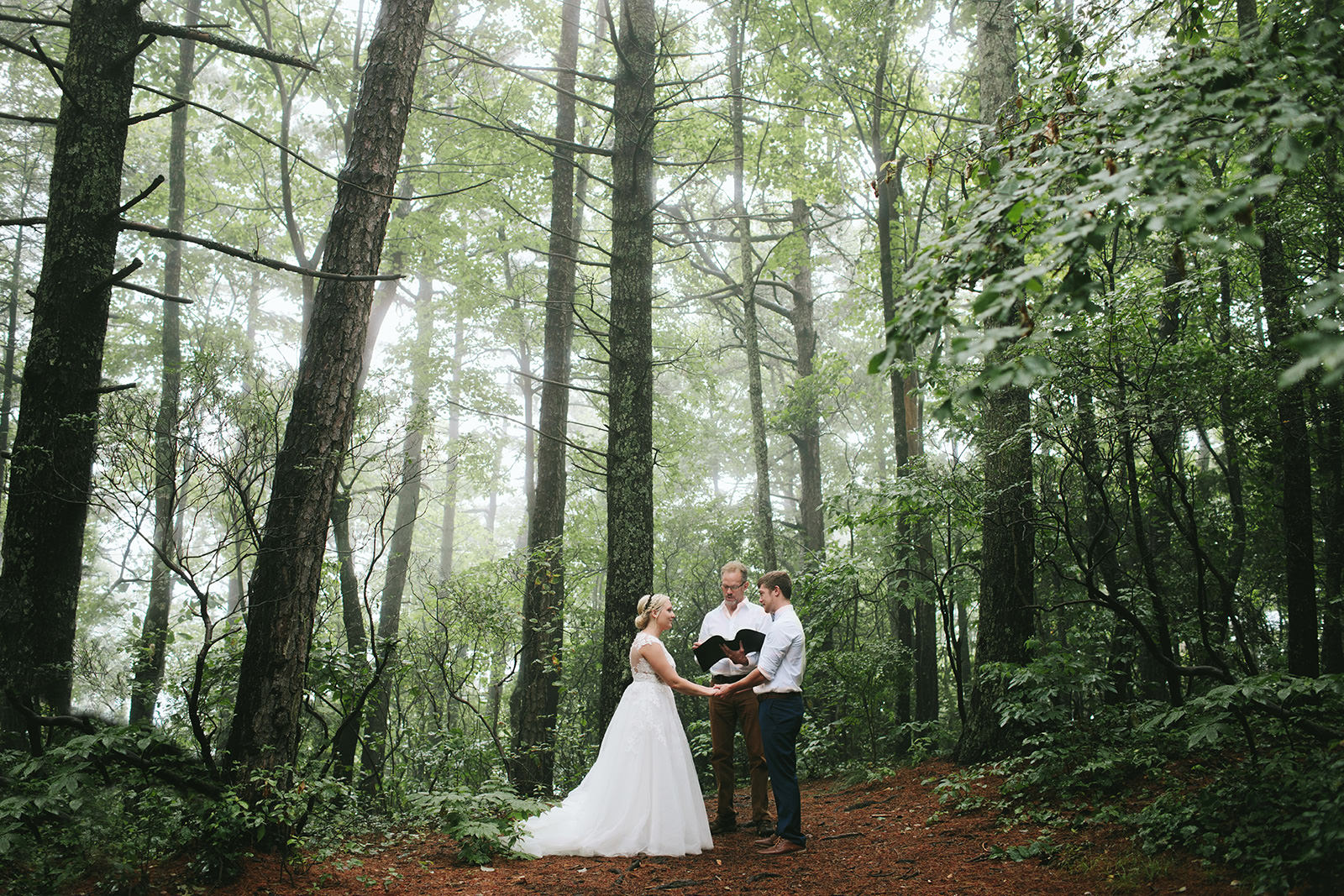 wooded elopement ceremony asheville