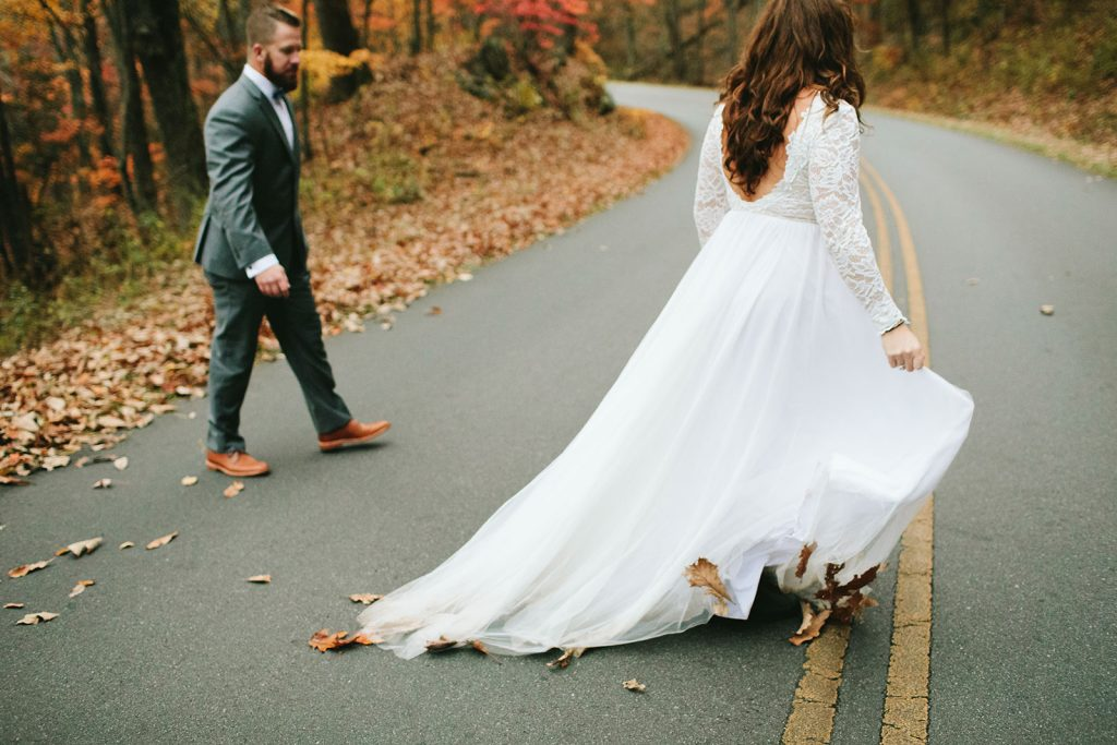 blue ridge parkway elopement in the fall