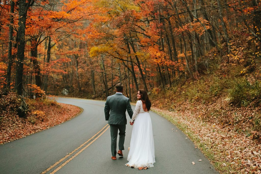 colorful elopement in the fall