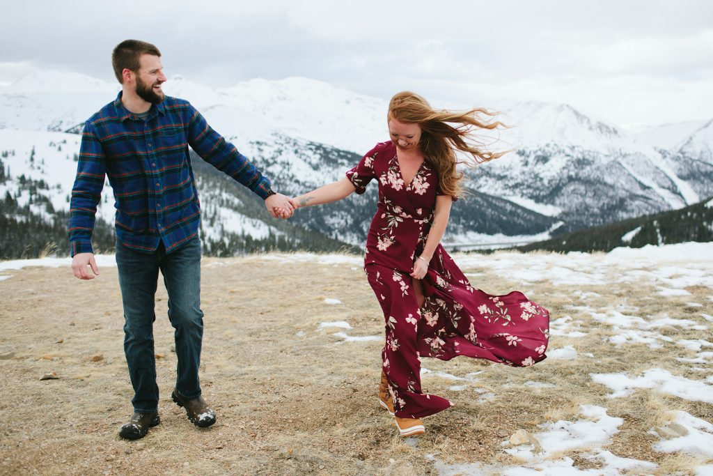 winter engagement photos loveland pass