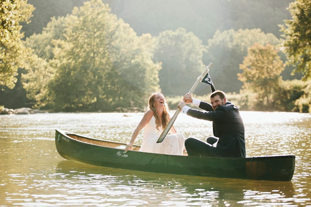 wedding in a canoe