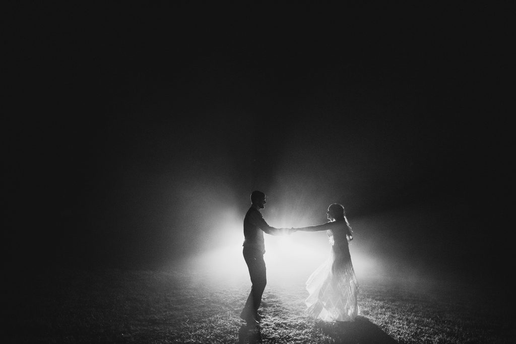 foggy wedding photos at night