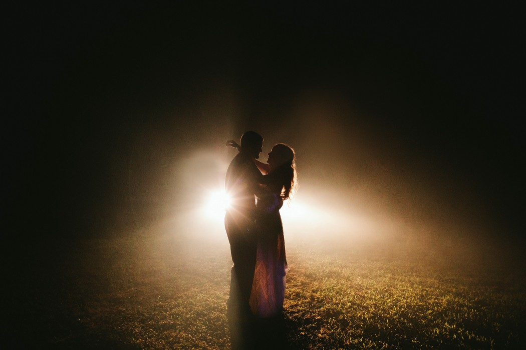 foggy headlights wedding photos