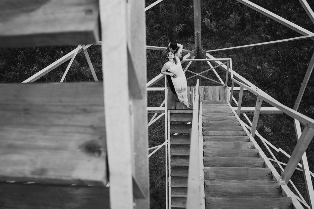 engagement photos on a fire tower