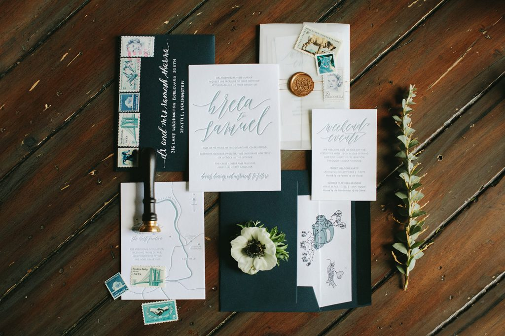 blue and green wedding invites