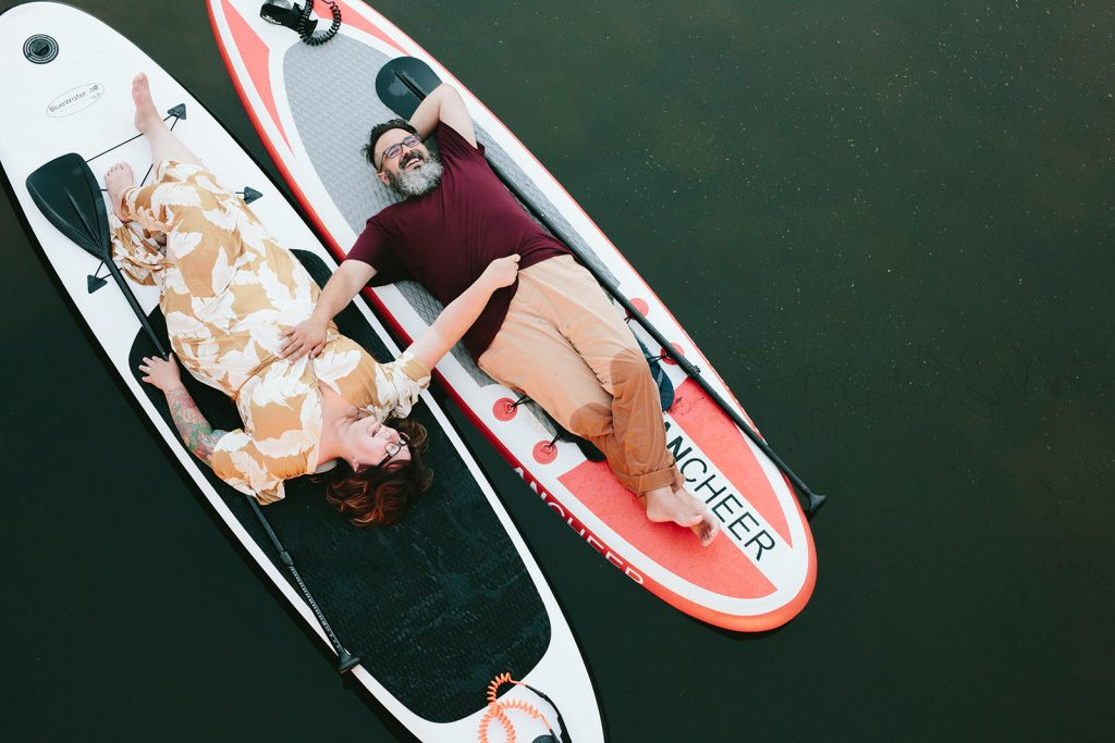 engagement photos on a SUP