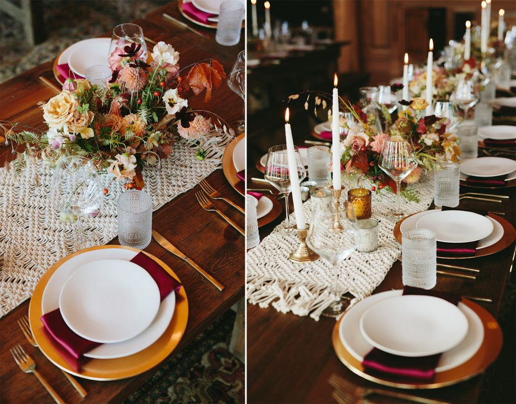 red and pink boho wedding decor