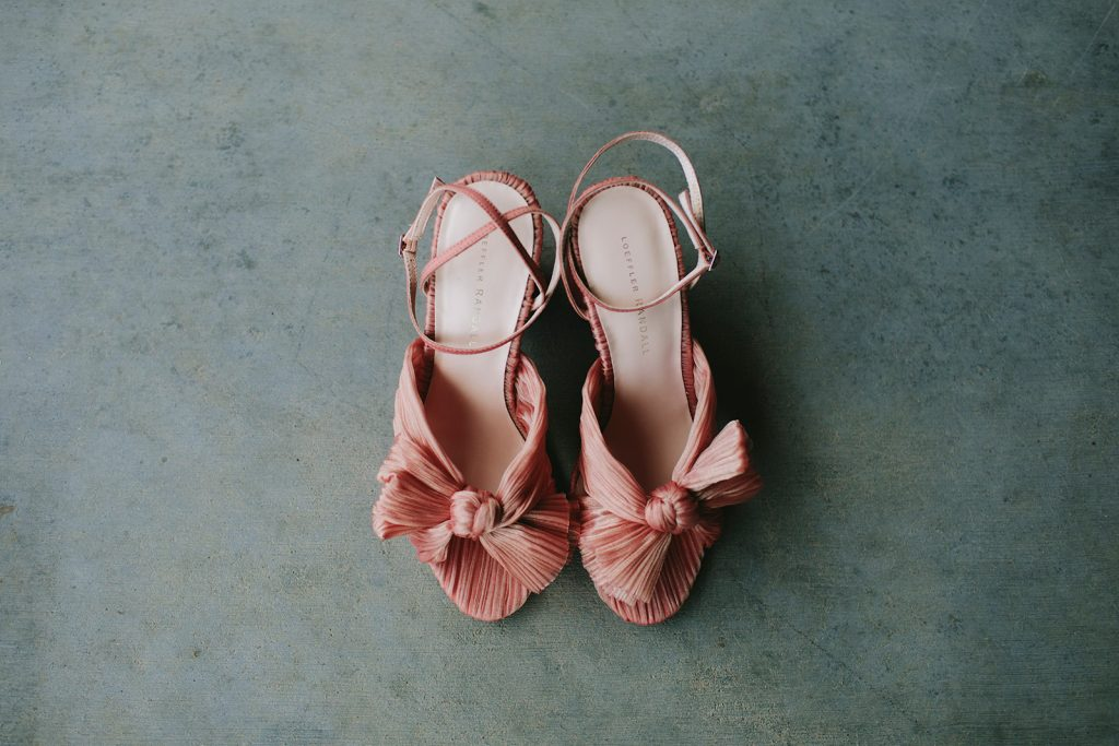 pink vintage wedding shoes