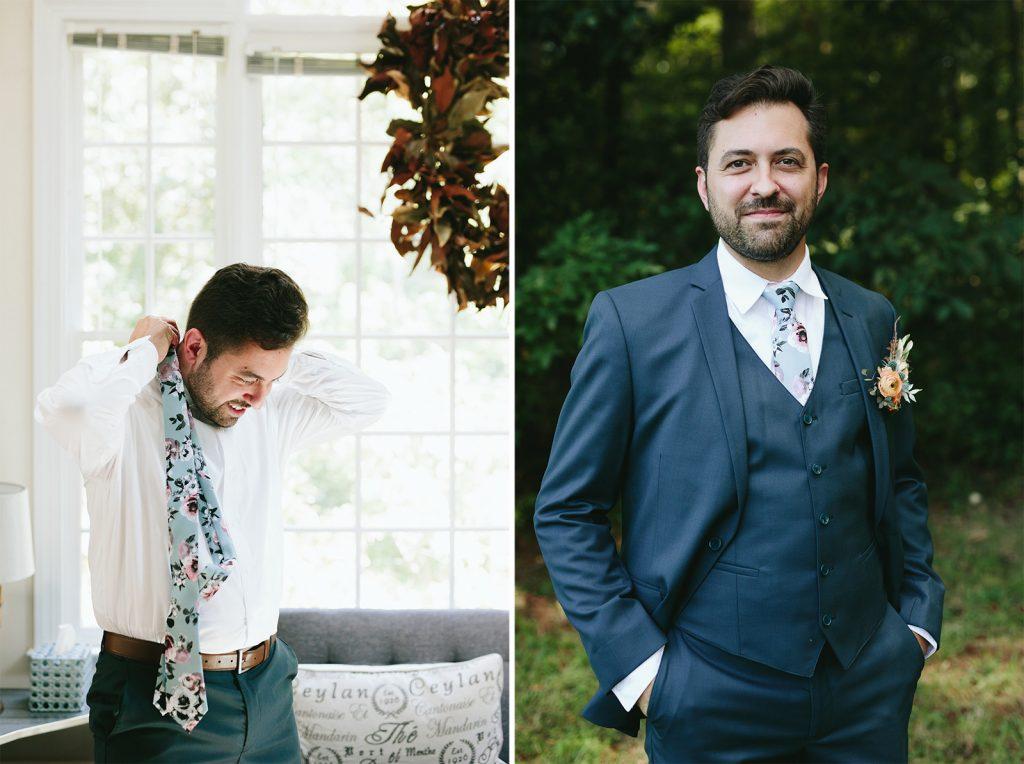 groom blue floral tie