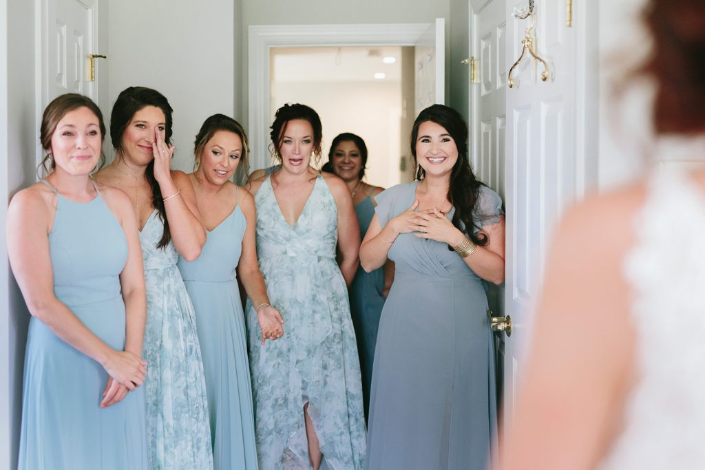 floral blue bridesmaid dresses