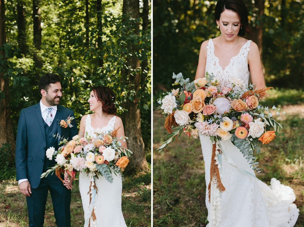 orange and blush wedding bouquet
