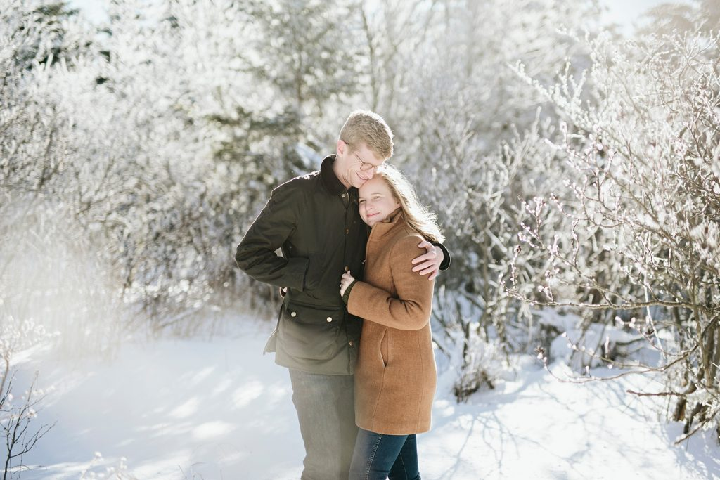 winter engagement session photos in asheville nc