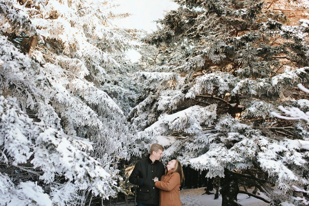 engagement photos with snow asheville
