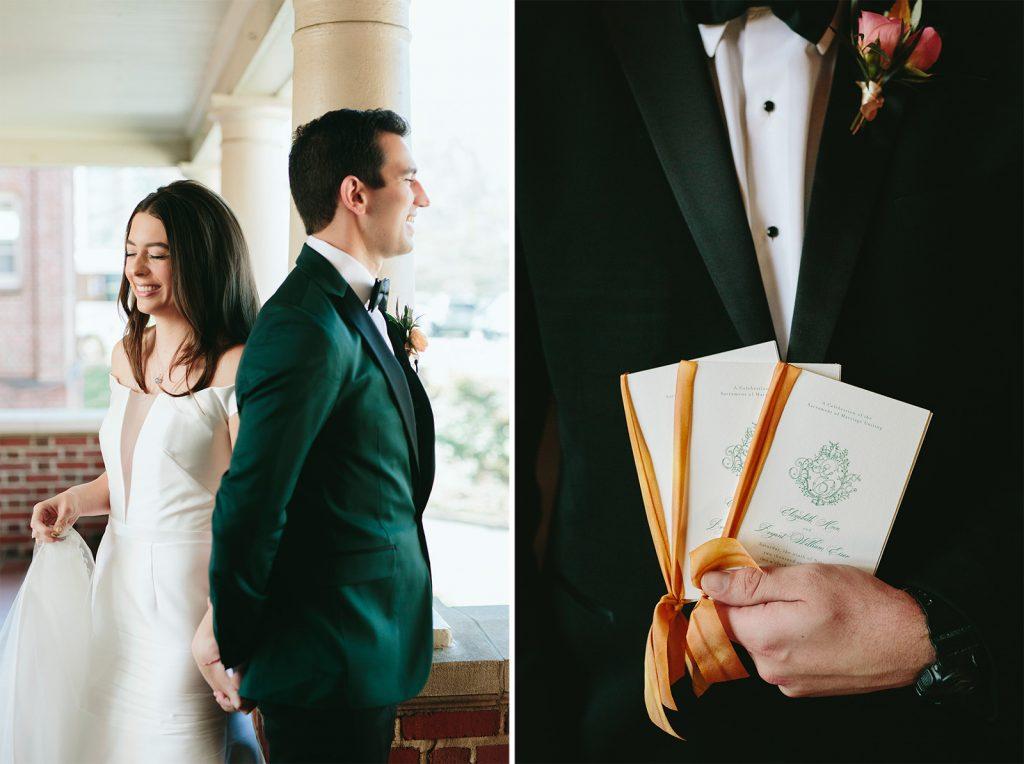 turquoise and yellow wedding programs