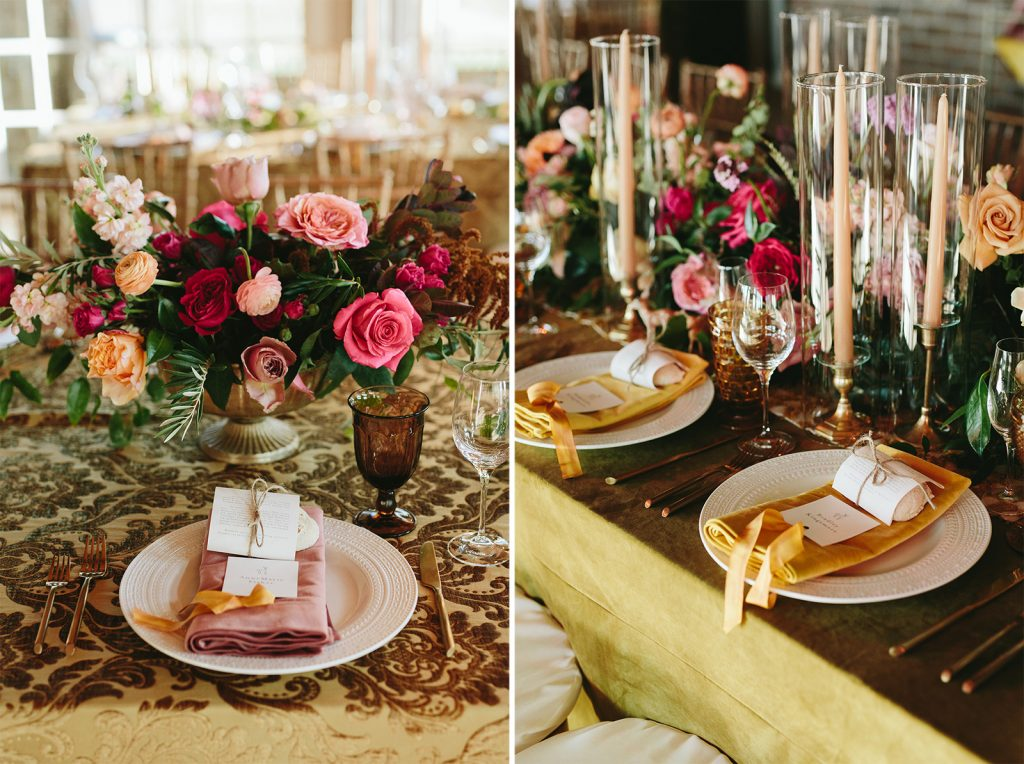 pink and gold wedding decor ideas