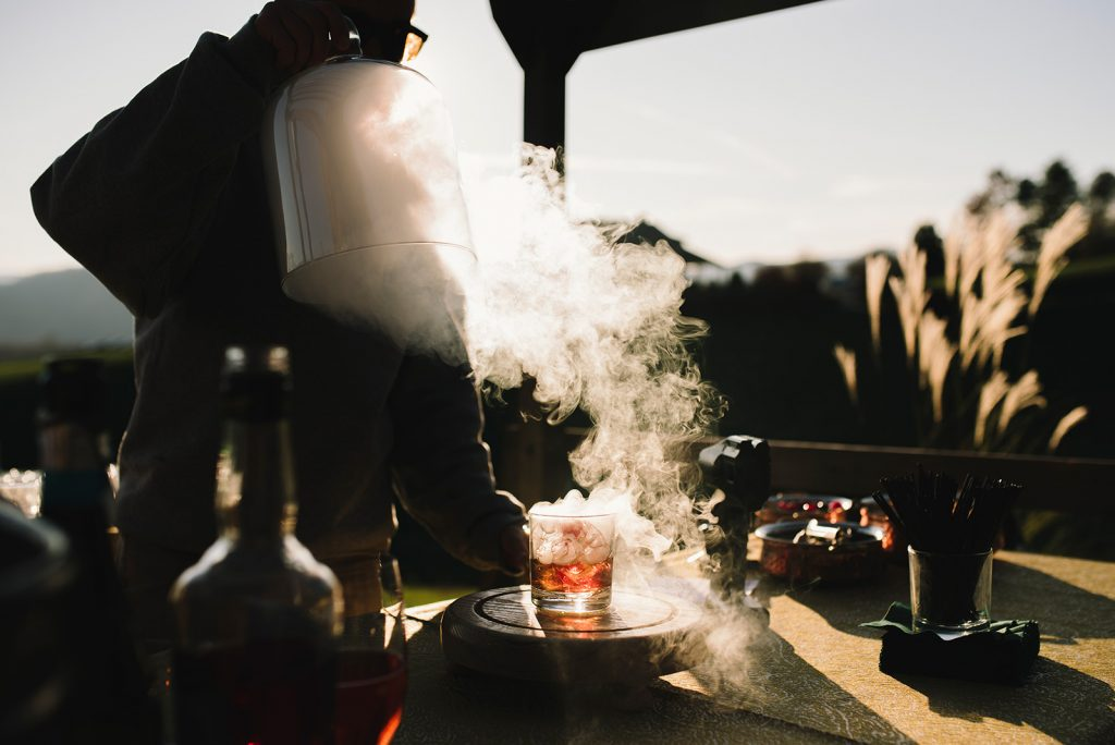 smoked drink wedding cocktail hour